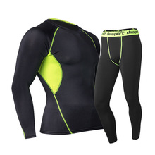 New Running Mens Base Layer Warm Compression Quick Dry Leggings+Long Sleeve Top
