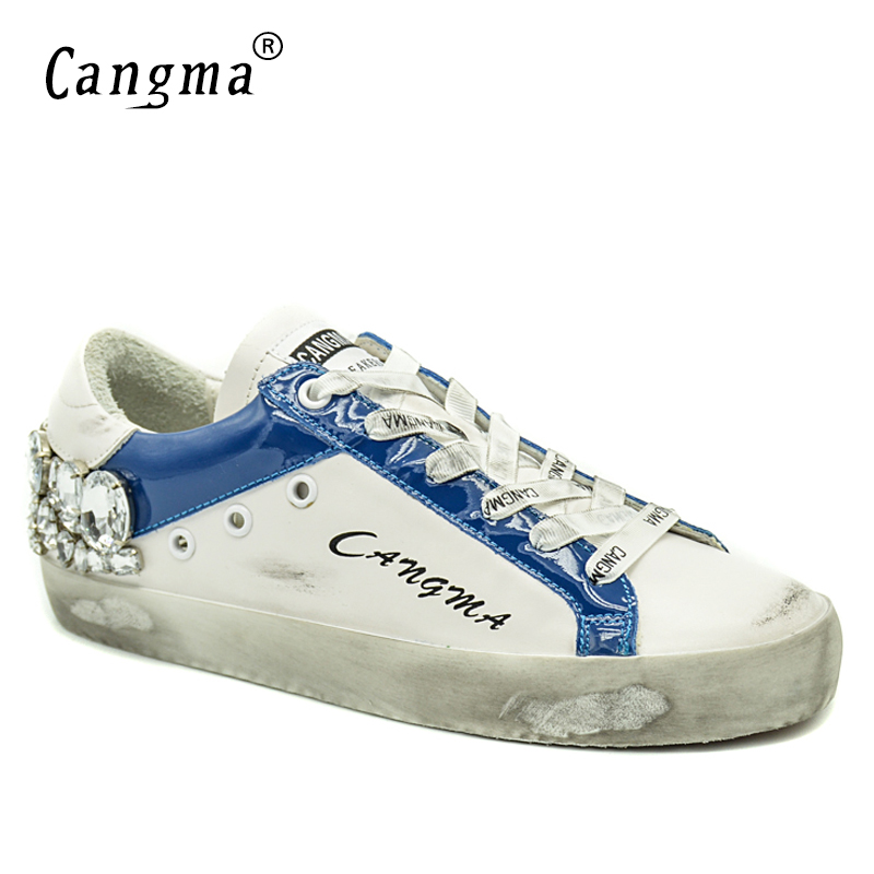 CANGMA Italian Brand Sneakers Woman Diamond Shoes Crystal Vintage Genuine Leather White Bass Flats Breathable Women Casual Shoes cangma original newest woman s shoes mid fashion autumn brown genuine leather sneakers women deluxe casual shoes lady flats