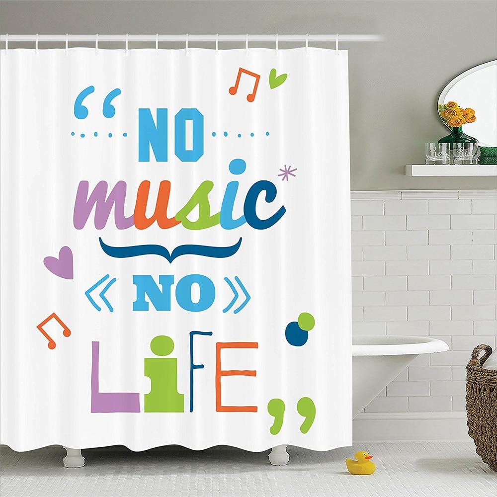 "Quotes Decor Shower Curtain Set ""No Music No Life"" Fun"