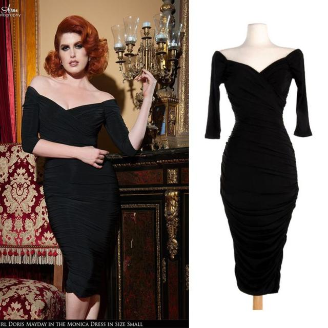 Black 1950s Style Dresses 50\'s Pin up Retro off shoulder Monica ...