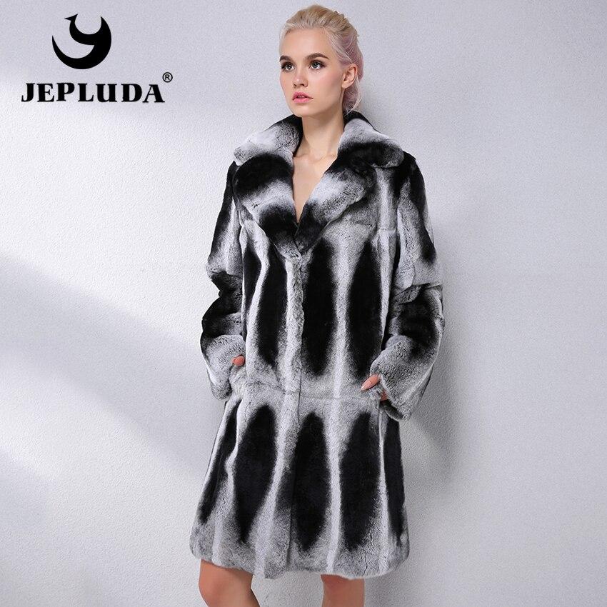 Argent Cuir Jepluda Costume Veste Manteau Épais En Col De D'hiver Marque Mode Rex Femmes Naturel Lapin Réel Véritable Fourrure vNmwn0O8