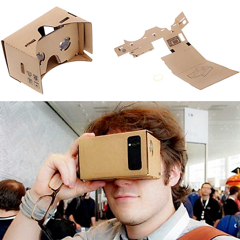 """Новые DIY Очки виртуальной реальности картонные виртуальной реальности VR мобильный телефон 3D просмотр очки для 5,0 """"экран очки VR 3D очки"""
