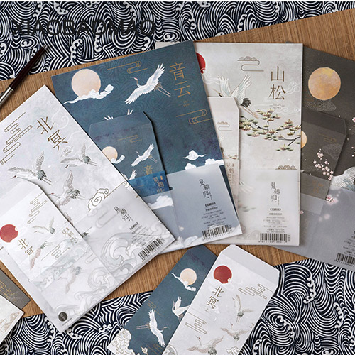 9Pcs/Set 3 Envelope + 6 Writing Paper Chinese Style Envelope Letter Paper School Supplies