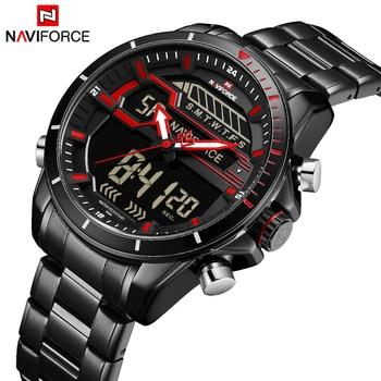 NAVIFORCE NF9133 Men Watch Digital Sport Mens Watches Luxury Military Stainless Steel-Red