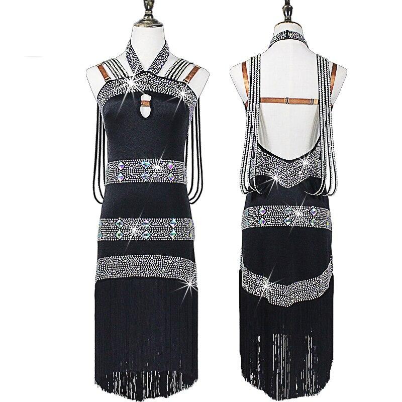 Nouveau Costume adulte danse latine compétition robes strass gland Latin standard danse robe femmes vêtements personnalisés DQS1691