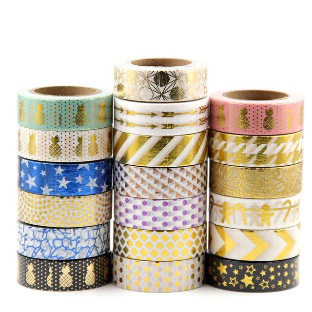 G31-G60 10 m Flor de cobre corazón de oro cinta Washi papel Scrapbooking cinta adhesiva cintas de papelería decorativas