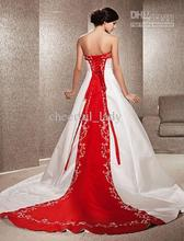 все цены на 2013 - New Style High Quality Embroidery A-line Strapless Satin Chapel Train Wedding Dress Custom Made онлайн