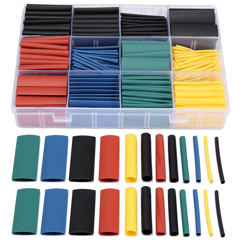 530 PCS/Lot Halogen-Free 2:1 Heat Shrink Tubing Wire Cable Sleeving For Wrap Wire Kit 8 Size 1.5mm/2mm/3mm/4mm/5mm/6mm/8mm/10mm
