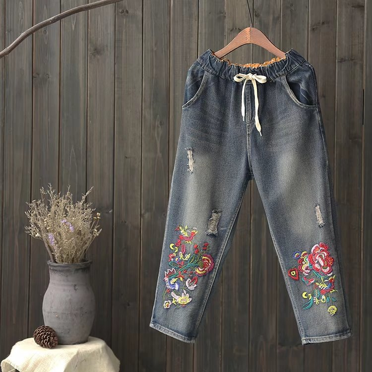 National Wind Makes Old Wear White Drawstring Embroidery Flower Hole Jeans Loose Nine-minute Trousers national wind embroidery lace up neck dress