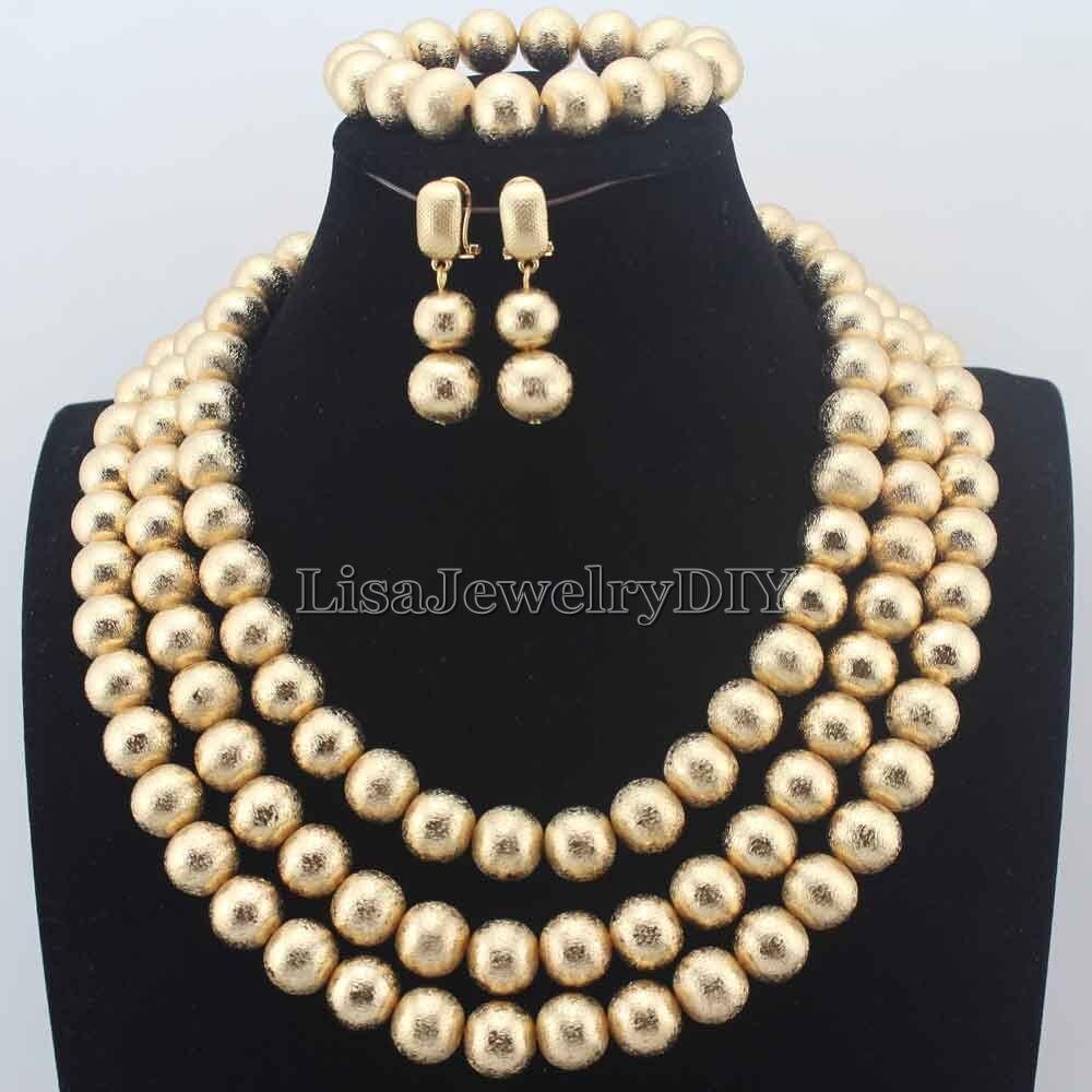 New Fashion african beads jewelry set Handmade 3 Layers Round Beads Bridal gift Necklace women Free Shipping HD8773 stylish women s beads round arc necklace
