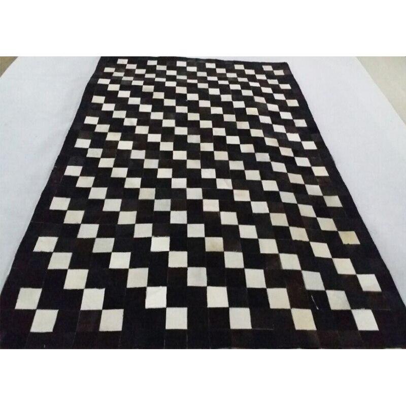 Black White Cowhide Patchwork Rug European Style