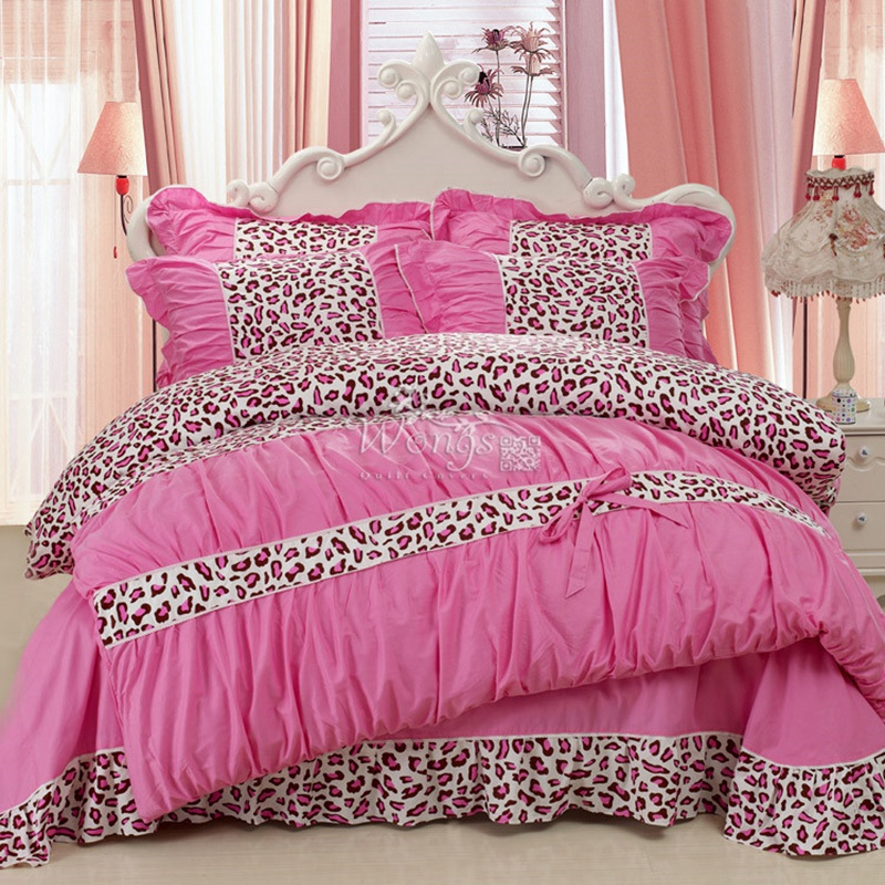 WongsBedding Bedding Set Pink Leopard Painting Vivid Duvet Cover Quality Twill Cool Bed Set Multi Size 3pc sexy bowknot bedcloth