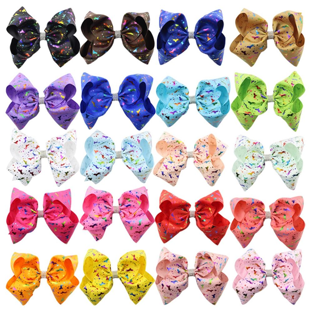 New 8Inch Unicorn Printing Grosgrain Ribbon Big Bowknot Girls Hair Clips Shiny Bows For Children Women Hairpins Hair Accessories new ribbon silver bow hairpins girl little hair top clips bowknot for baby children accessories for hair gift all by handmade