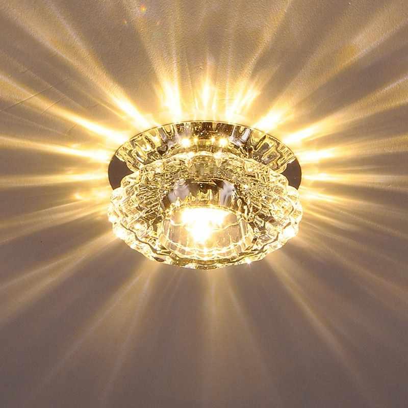 3 Вт прохода светодиодный потолочный светильник для гостиной Потолочные светильники Хрустальный коридор проходные огни Светодиодный светильник
