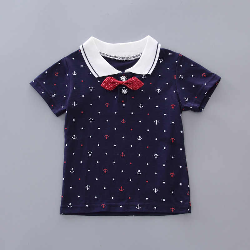 ชายเสื้อผ้าแฟชั่นฤดูร้อน 2019 ใหม่เด็ก 1-4 ปีเด็กทารก Boy Lapel พิมพ์ 2 เสื้อผ้าเด็ก