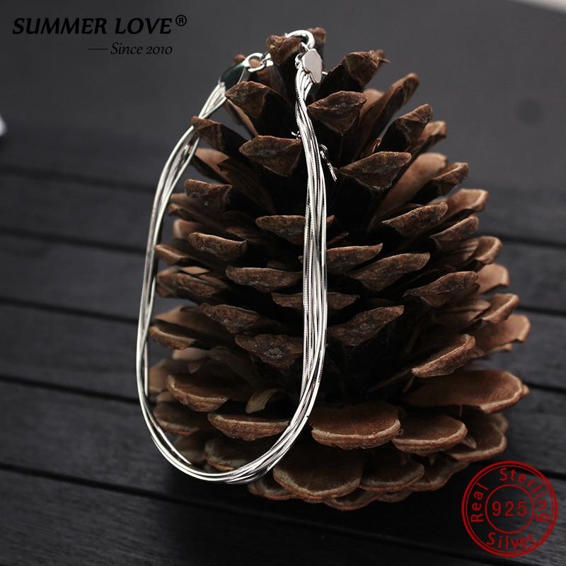 HTB17lBLlILJ8KJjy0Fnq6AFDpXa2 2018 New Simple Multilayer Tassel Snake chain Bracelet Genuine 100% 925 Sterling Silver jewelry for women chrismas gift