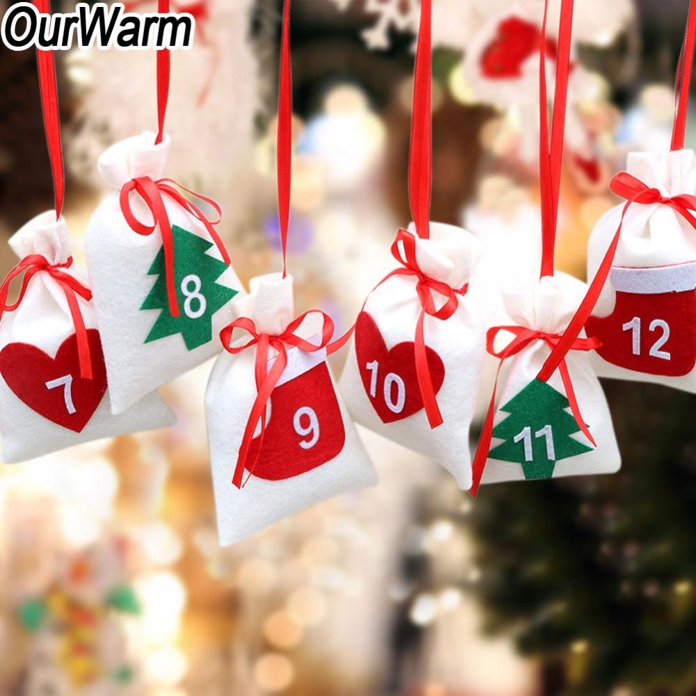 Ourwarm 24/31 dias pendurado puxar bandeira diy natal advento calendário presente sacos feliz ano novo contagem regressiva decoração de natal para casa