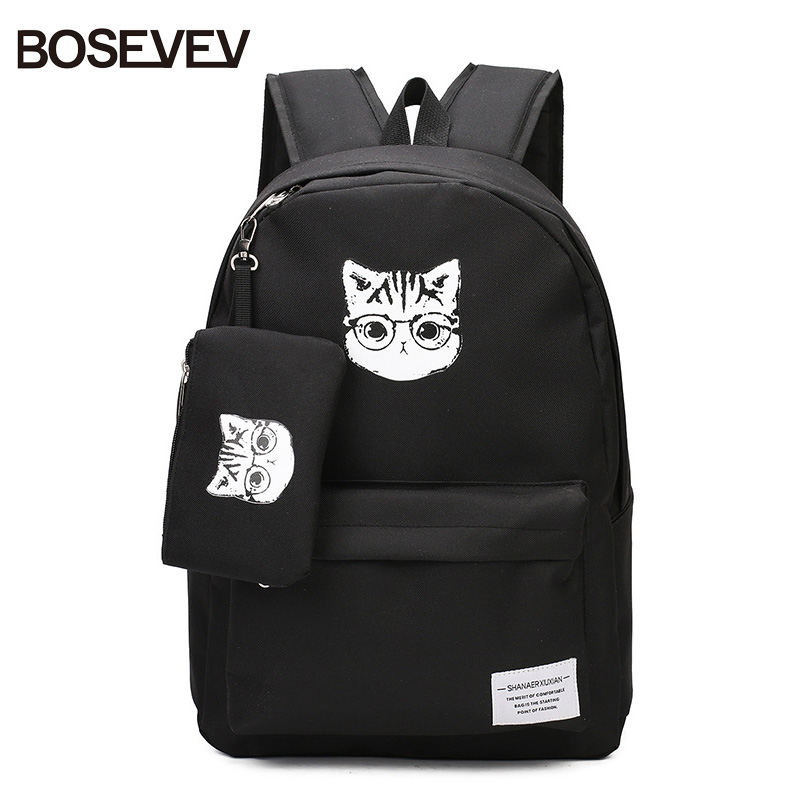 BOSEVEV 2 pcs school bags for teenage girls canvas school backpack cartoon cat black schoolbag lady travel bag children backpack