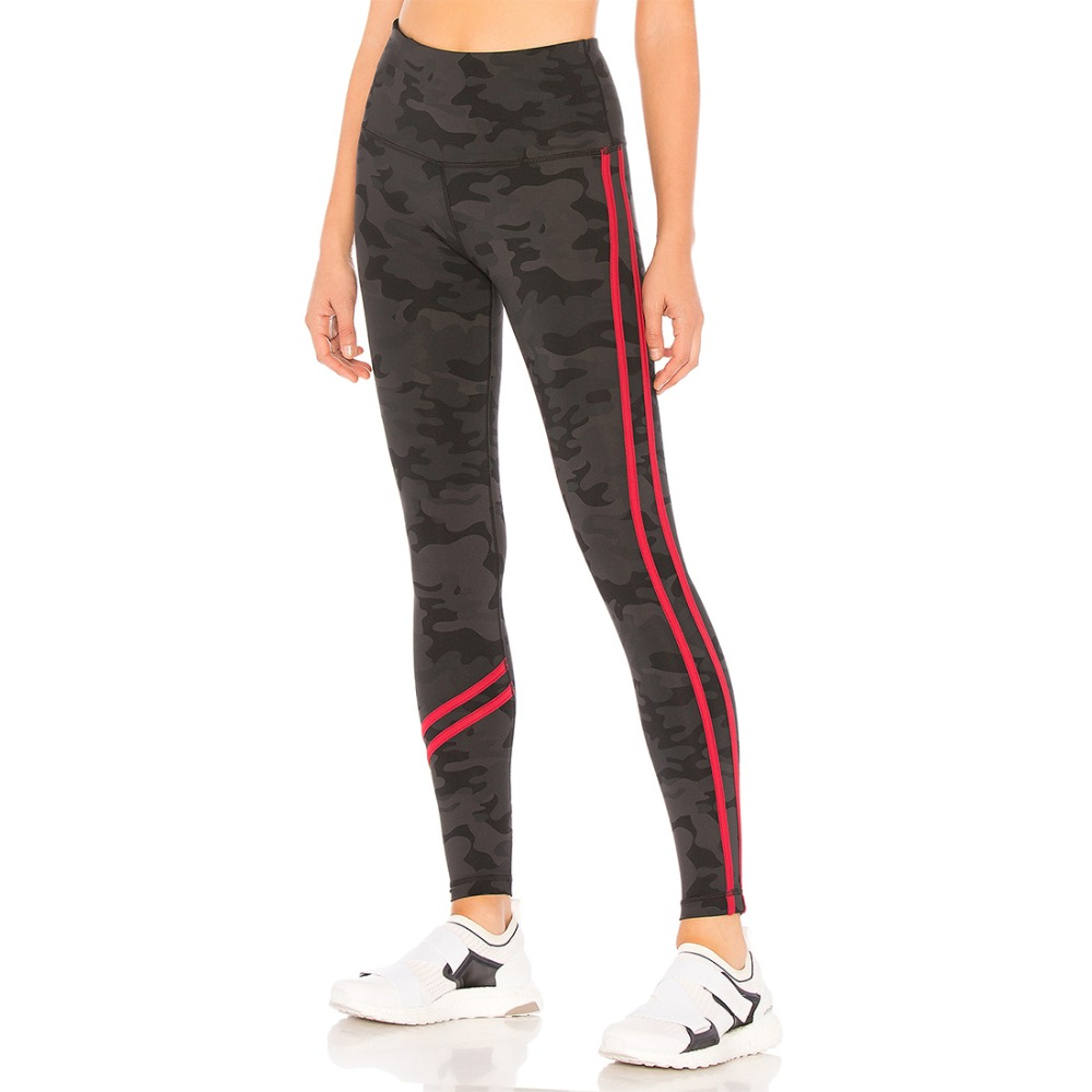 2018 New Black Sports Camouflage High Waist Leggings Red Striped Casual Elastic Skinny Leggings