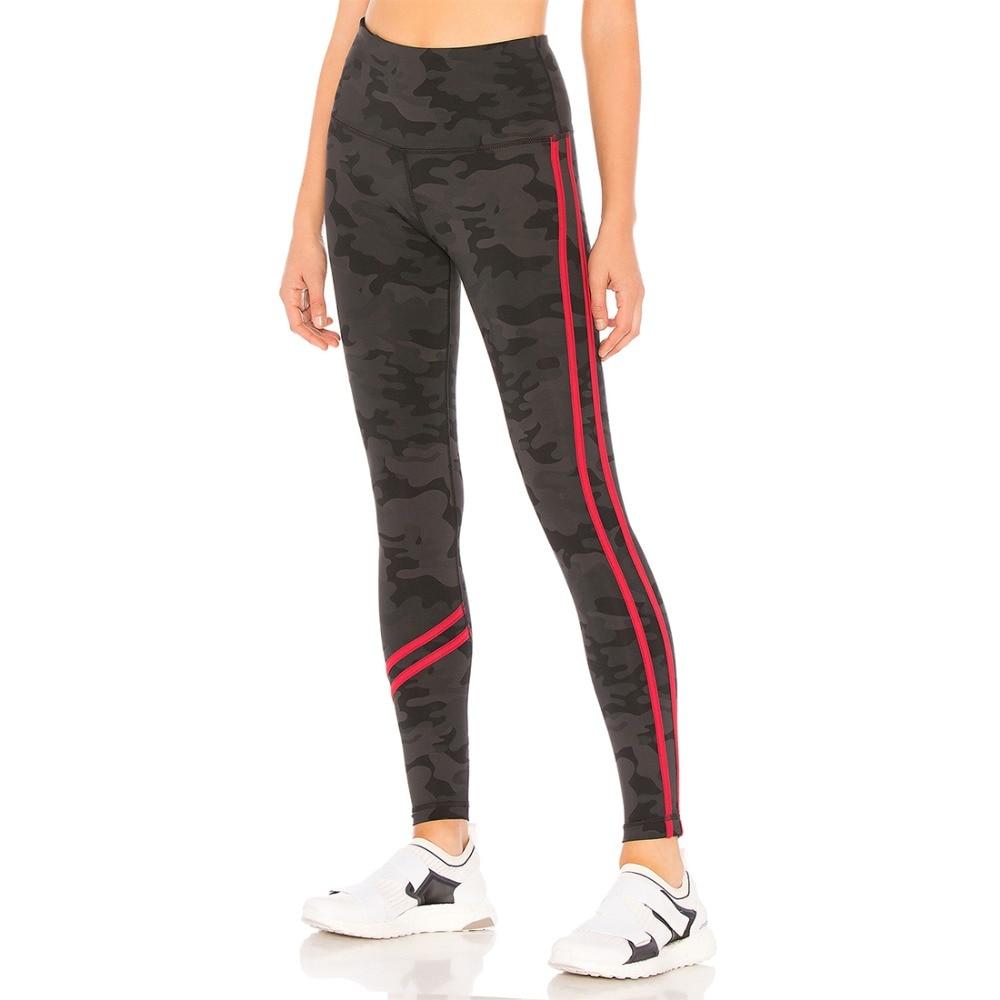 2018 New Black Sports Camouflage High Waist Leggings Red Striped Casual Elastic Skinny Leggings
