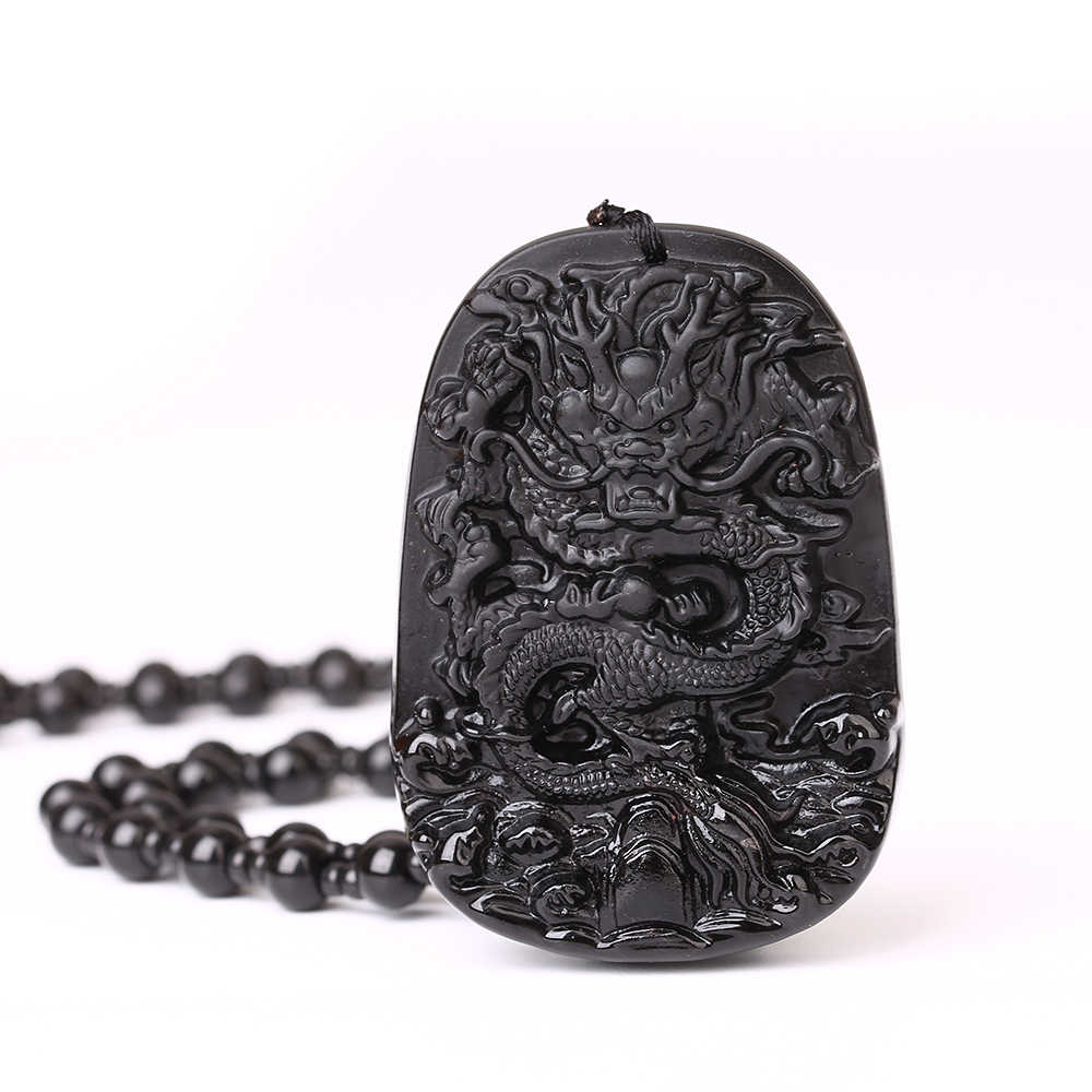 Chinese Handgemaakte Natuurlijke Zwarte Obsidiaan Gesneden Chinese Zwarte Draak Totem Guardian Amulet Lucky Hanger Ketting Mode-sieraden