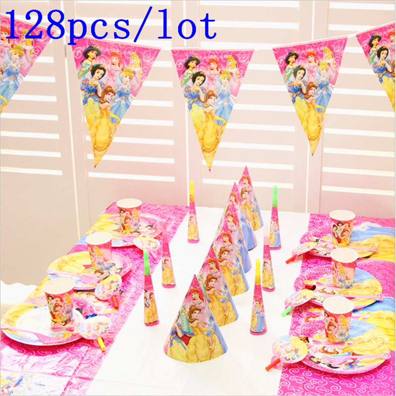 Disney Six Princess Theme Design 128Pcs/Lot Cinderella Pink Cups+Plates Birthday Party Decoration Paper Tableware Sets Supply
