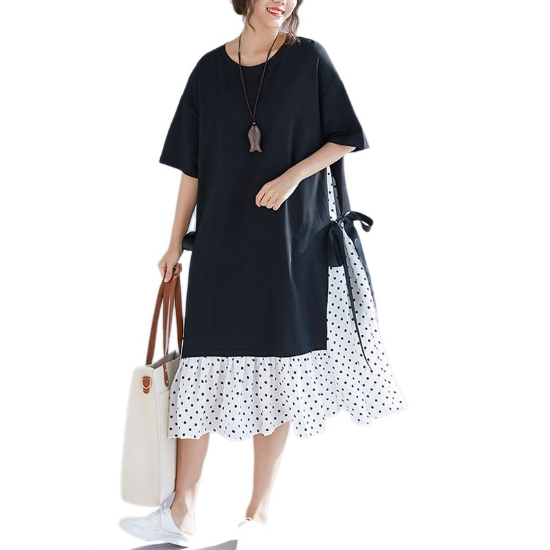 bcdd6c5c10ffd DIMANAF grande taille femmes robe d'été robe d'été mode imprimé Dot coton