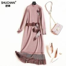 Shuchan Knitted Dresses Women Prairie Chic Appliques Mid-calf O-neck Stylish Women Clothes Sweater Dress For Women Winter 8056