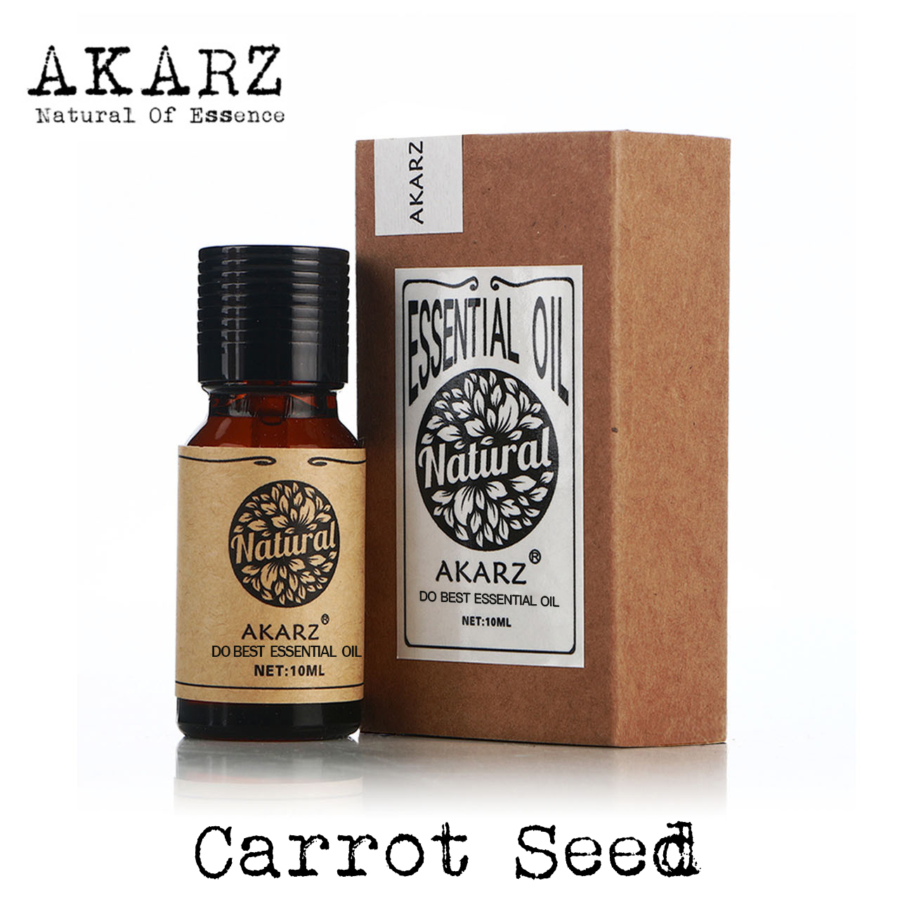 AKARZ Famous brand natural carrot seed essential oil Improve skin color elasticity Detox carrot seed oil grid carrot pants
