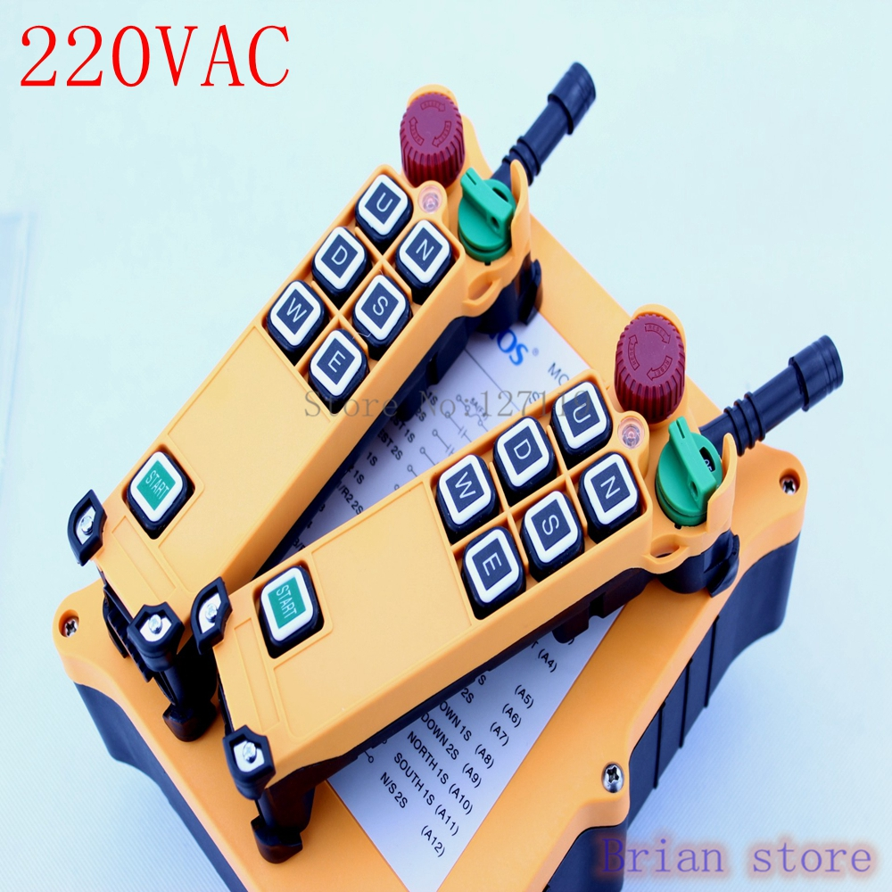 220VAC 6 Channel 2 Speed 2 Transmitters Hoist Crane Truck Radio Remote Control System Controller new 2 transmitters