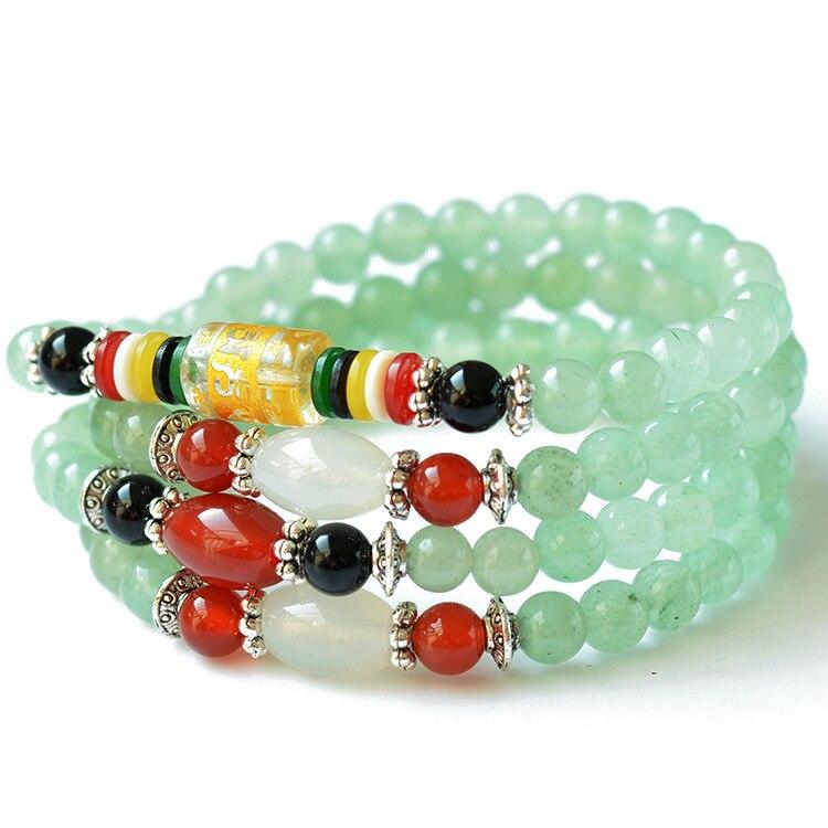 6mm Natural green aventurine gemstone beads Tibetan Buddhist 108 Prayer Beads Gourd mala Bracelet for Meditation