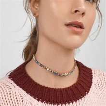 BK Fashion Choker Necklace for Women Vinage Gold Crystal  Chain Jewelry
