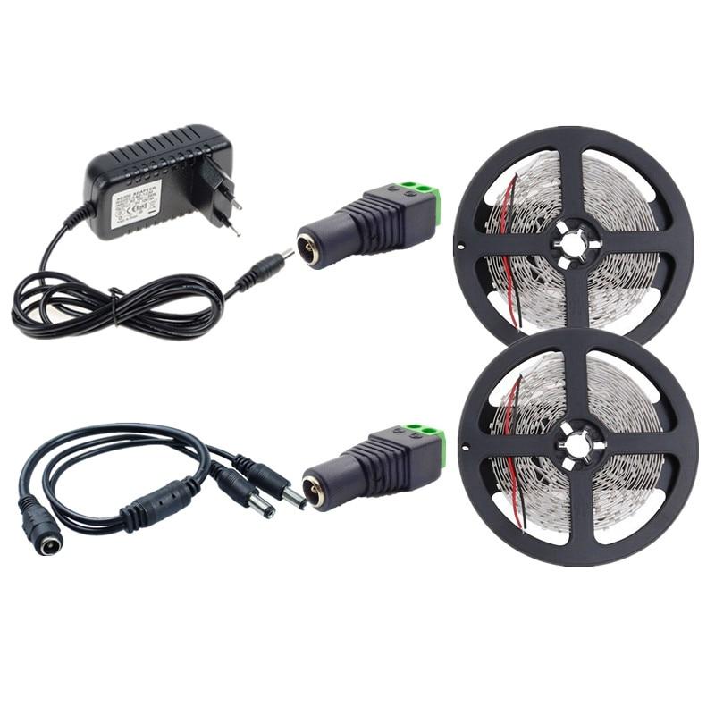 10m LED Strip Light No Waterproof SMD 2835 LED Tape Ribbon Lamp 12V 60led/m Flexible String White Warm White+12V 3A LED Adapter