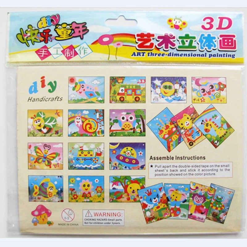 Happyxuan 20 видов конструкций 3D Eva пена ремесло стикер DIY головоломка ребенок обучение по методу Монтессори образование игрушки для детей 3-6 лет