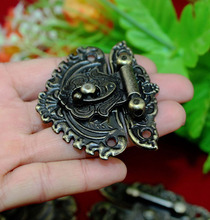 40Pcs Antique wooden wine box hasp lock buckle alloy drawer hinge decorative buckle safety clasp buckle KF571