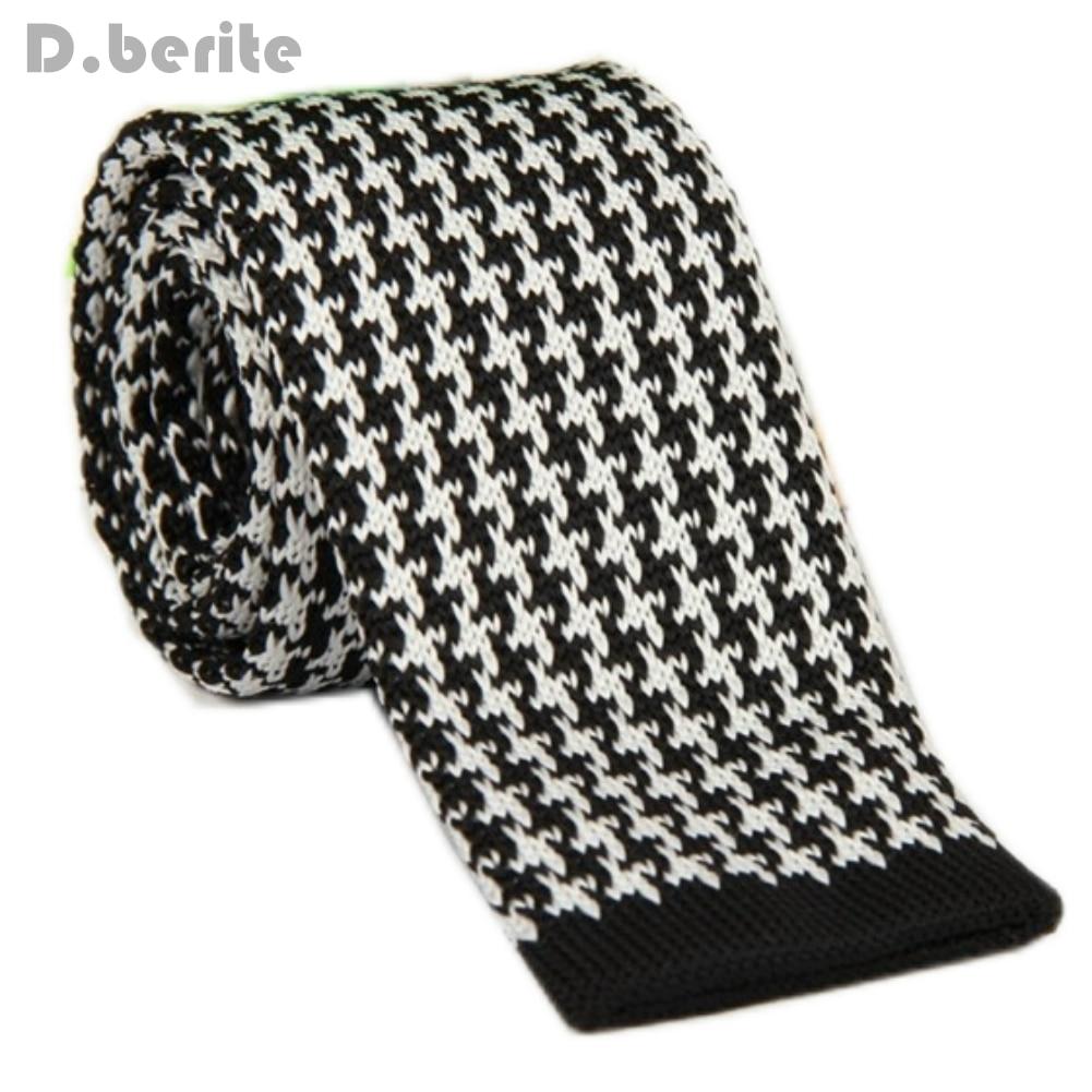 Men\'s White Pattern Classical Knit Tie Slim Skinny Knitted Ties ...
