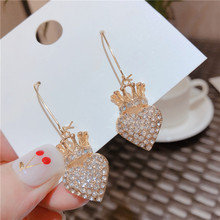 Delicate Rhinestone Heart Crown Earrings For Women 2019 New Simple Korean Fashion Jewelry