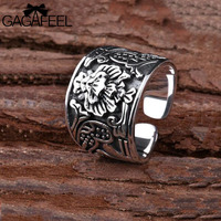 GAGAFEEL Vintage Flower 925 Pure Sterling Silver Open Rings For Women Lover Party Gift Flower Ring