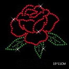 Free shipping 4pc/lot Rose hot fix rhinestone motif iron on transfers designs strass transfer
