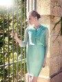 Aguamarina longitud de la rodilla 2015 nuevas de moda lf2739 madre de la novia viste con la chaqueta para la boda Formal del partido ( MO-8186 )