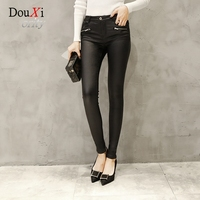 Autumn Winter Women S Leather Pants Stretch Slim Skinny Hip Up Pencil Pants High Waist Black