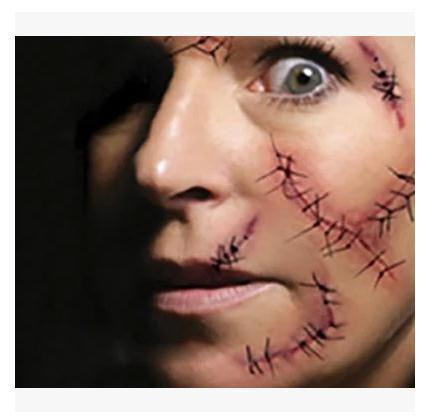 Halloween fake wound suture scar stitches spoof waterproof tattoo paste for men and women