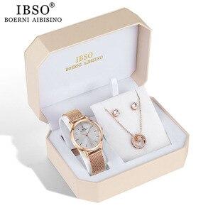Image 2 - IBSO العلامة التجارية النساء ارتفع الذهب ساعة القرط قلادة مجموعة مجوهرات نسائية مجموعة الموضة الإبداعية ساعة كوارتز كريستال سيدة هدية