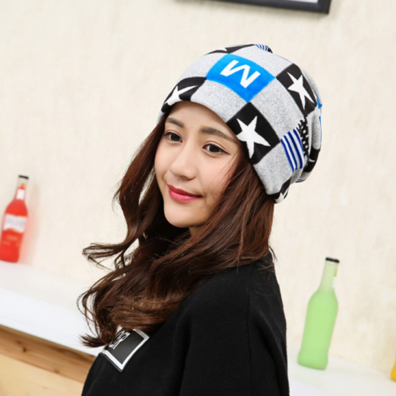 New Stars Lattice Multi-functional Warm Cap Men Women Ladies Unisex Hat Pile Heap Cap FS0388 animal printing new plus side men and women with the double layer of warm ladies pile heap cap skullies hat knitted hat stripe