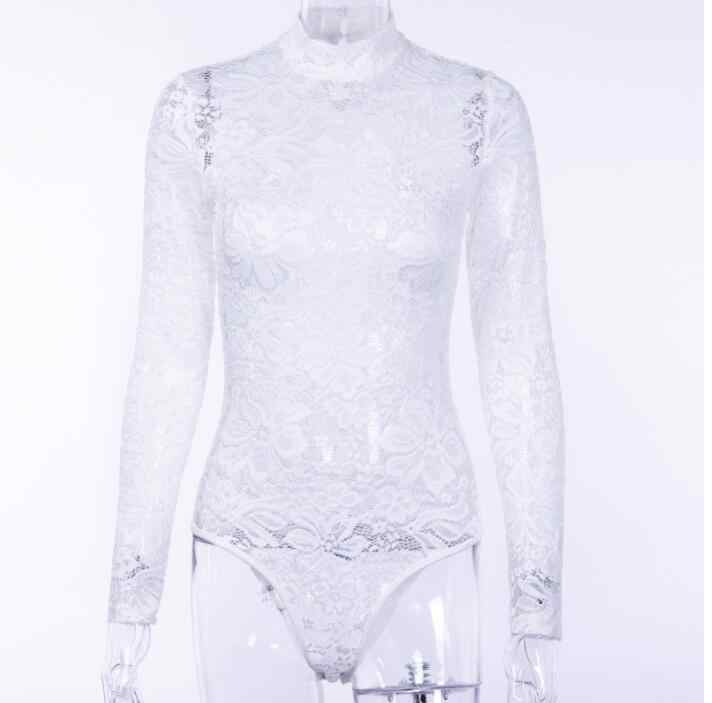 2c2cbe3edee6 ... 2018 Elegant Floral White Lace Bodysuit Women High Neck Sexy Bodysuit  Bodycon Long Sleeve See Through ...