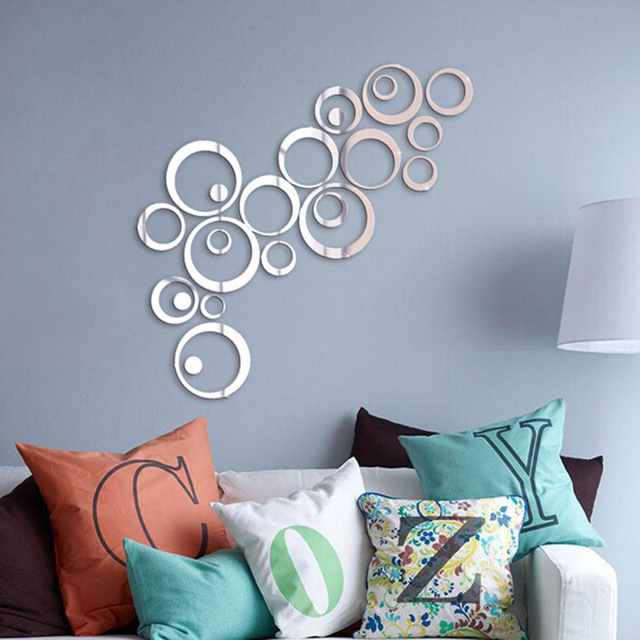 24pcs/Set Removable 3D Modern Mirror Effect Wall Sticker Circle Ring Decals  DIY Art Design