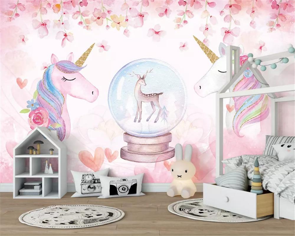 Купить с кэшбэком beibehang Custom size Fashion decorative painting stereo micrometer papel de parede 3d wallpaper watercolor unicorn background