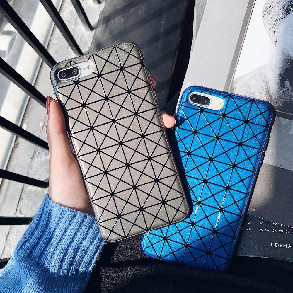 Japon Mode Luxe Marque Issey Miyake Texturé Diamant coque de téléphone pour iphone X Xs max XR 6 6 s plus7 7plus 8plus housse coque