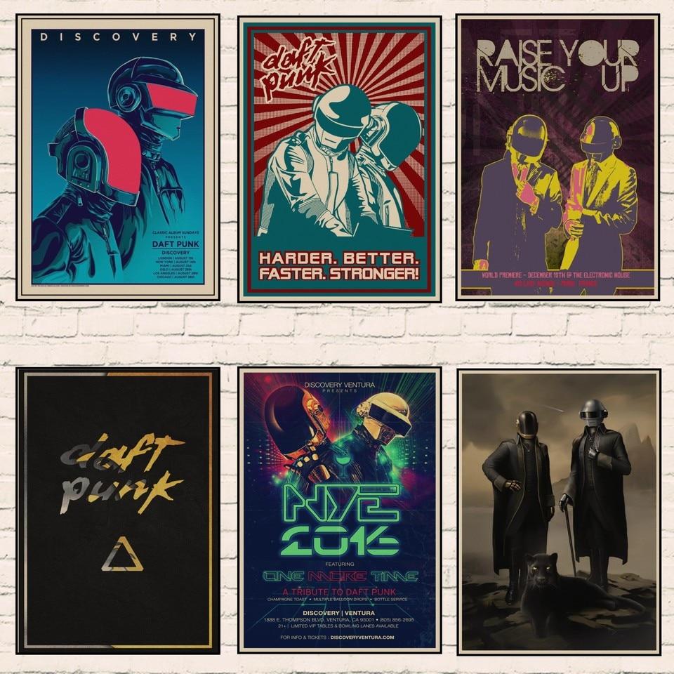 Daft Punk Around The World Vintage Music Poster Modern Wall Art Print