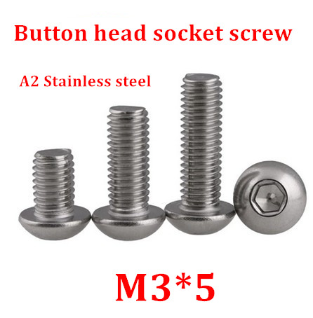1000pcs/lot M3*5 Bolt A2-70 ISO7380 Button Head Socket Cap Screw SUS304 Stainless Steel <font><b>M3X5mm</b></font> image